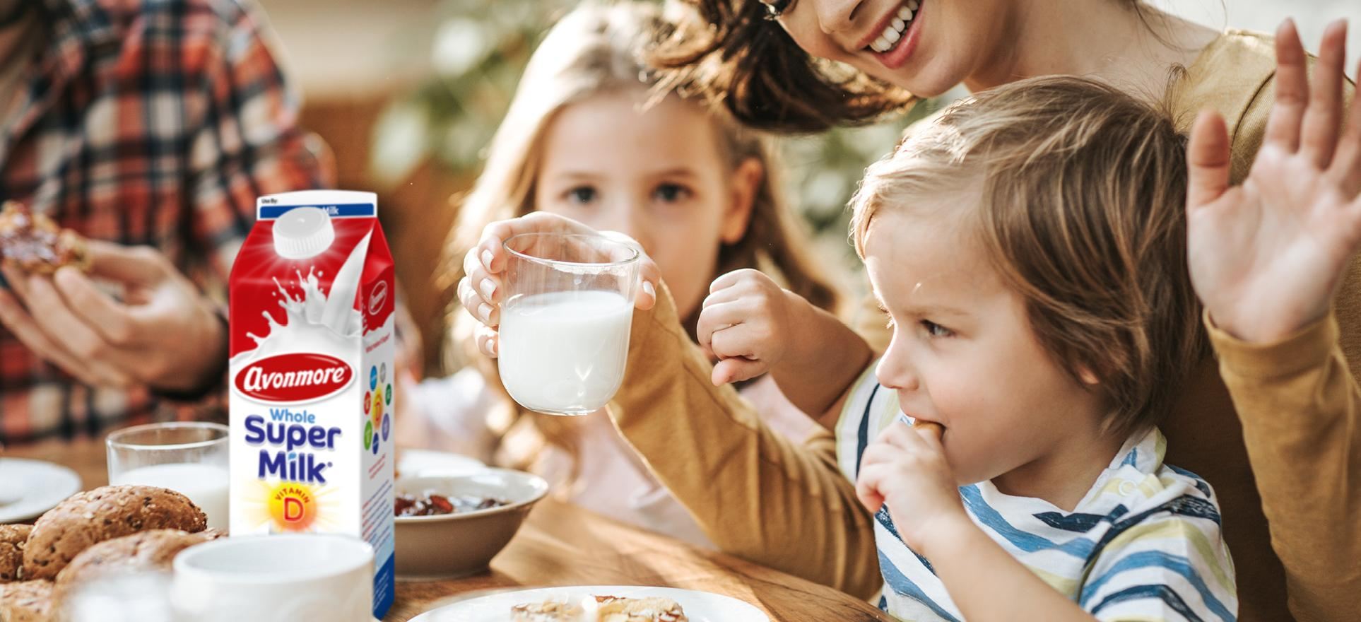 an image of a family enjoying avonmore supermilk