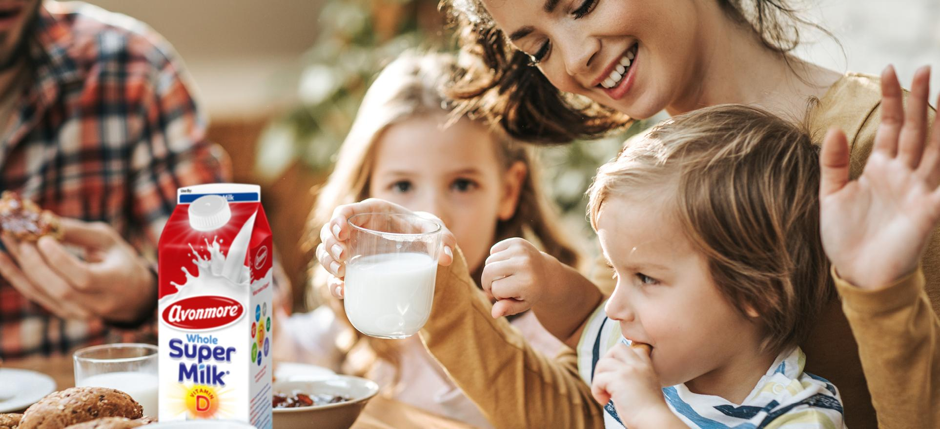 an image of a family  enjoying super milk