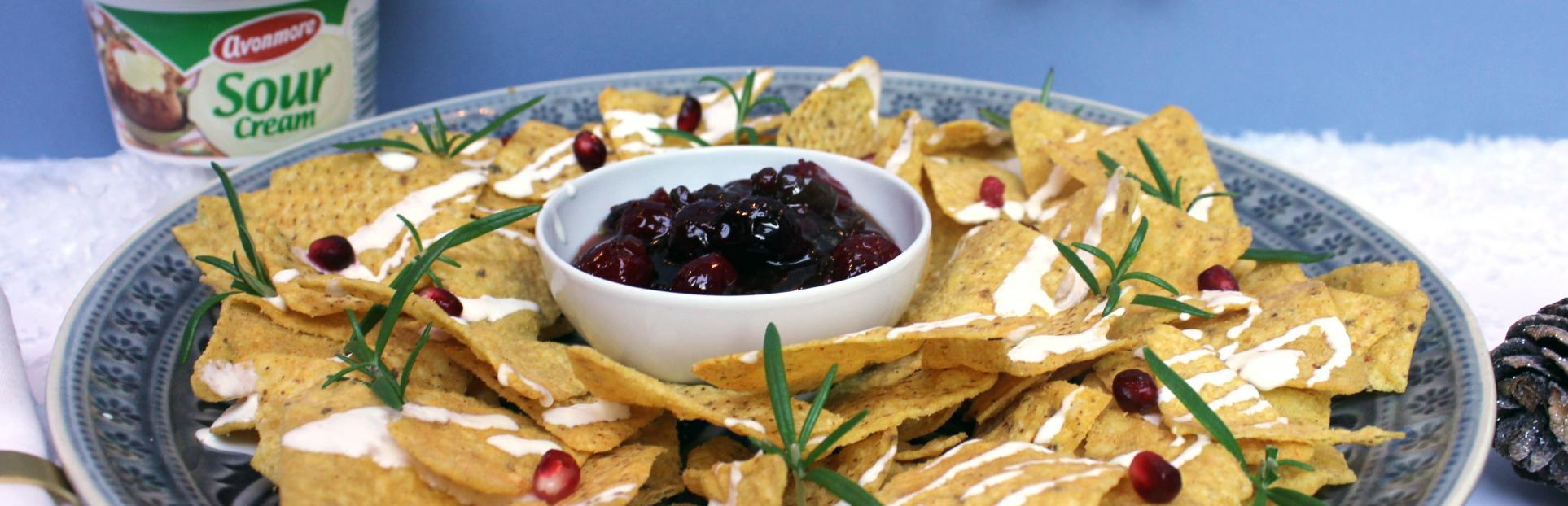 Christmas nachos with cranberry and jalapeno dip