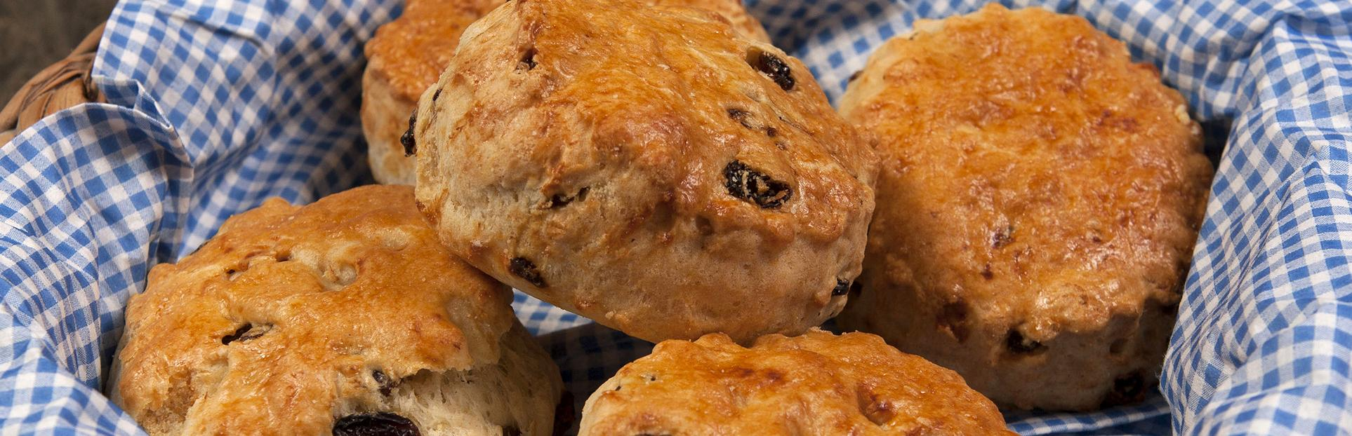 this is an image of scones in a basket