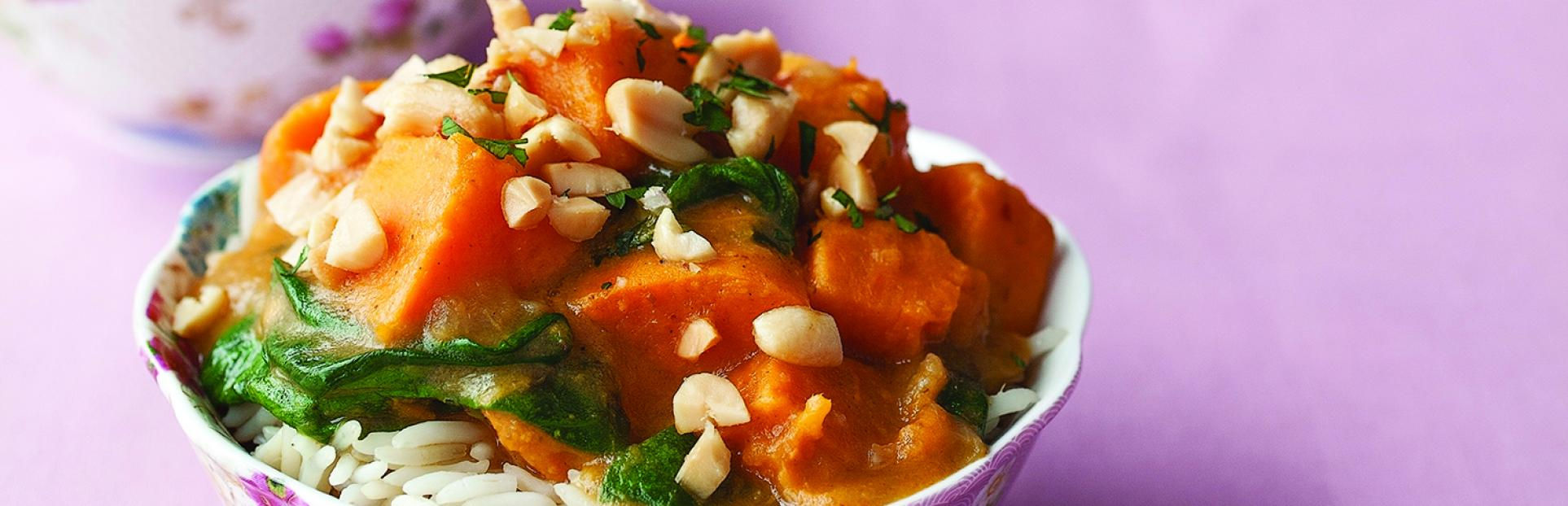 an image of sweet potato and spinach yellow curry