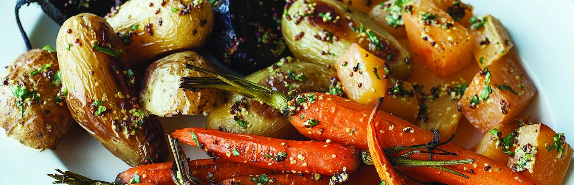 an image of tarragon-mustard roasted vegetables