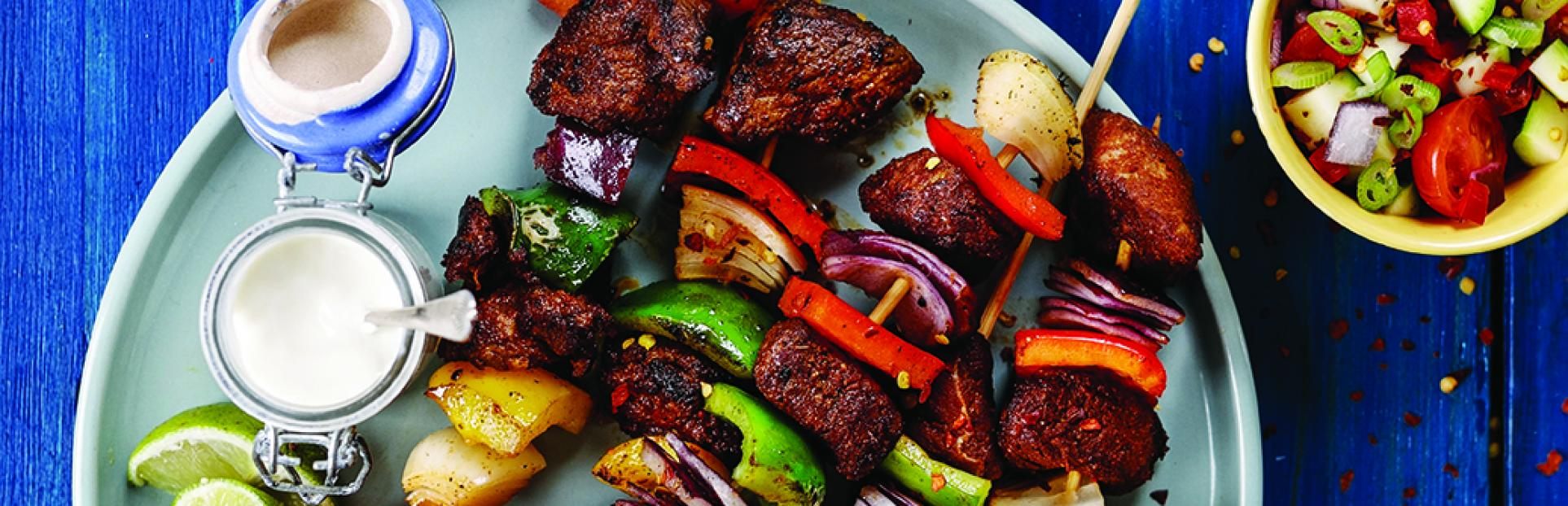 steak fajita skewers on a plate