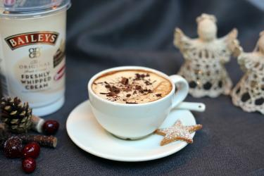 CHRISTMAS COFFEE WITH SHORTCAKE STARS AND AVONMORE FRESHLY WHIPPED BAILEYS CREAM