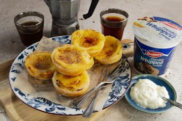an image of custard tarts and avonmore whipped cream