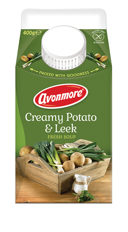 an image of avonmore creamy potato and leek soup carton