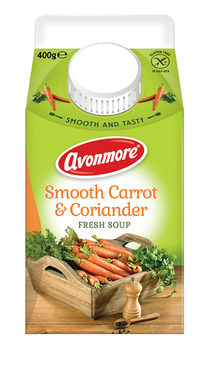 an image of avonmore smooth carrot and coriander soup carton