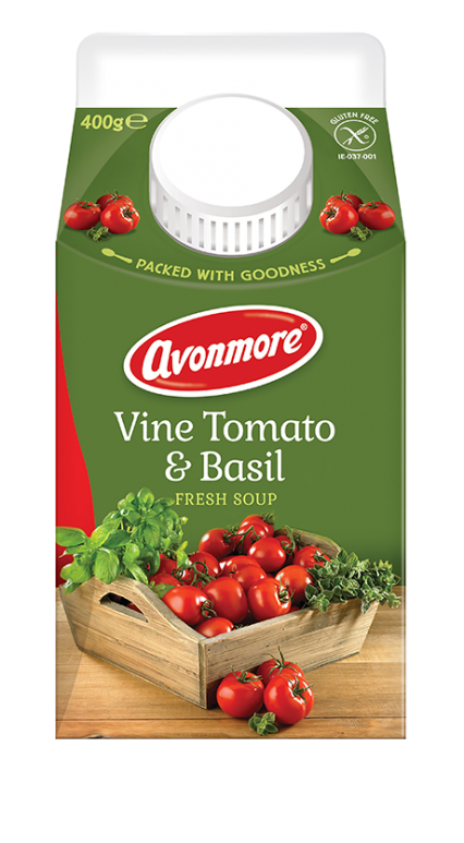 an image of avonmore vine tomato and basil soup carton