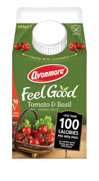 an image of avonmore low calorie tomato and basil soup carton