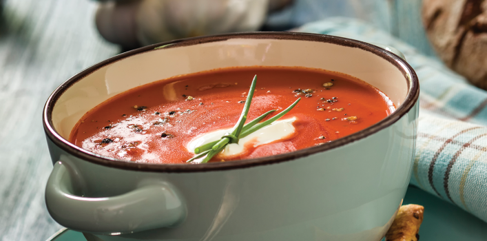 This is an image of a bowl of tomato soup